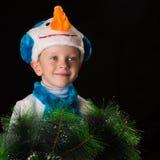 Het kostuumsneeuwman van jongenskerstmis Royalty-vrije Stock Foto's