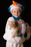 Het kostuumsneeuwman van jongenskerstmis Royalty-vrije Stock Afbeelding