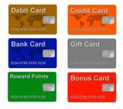 Het krediet en de giftkaarten van de steekproef Stock Fotografie