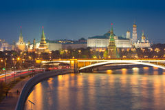 Het Kremlin bij nacht Stock Foto