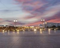 Het Kremlin bij nacht, Moskou, Rusland--de populairste mening van Moskou stock fotografie