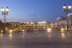 Het Kremlin bij nacht, Moskou, Rusland--de populairste mening van Moskou stock foto