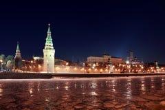 Het Kremlin dichtbij Rood Vierkant bij de winter in Moskou royalty-vrije stock fotografie