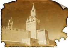 Het Kremlin op gebrand document stock afbeelding