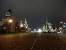 Het Kremlin van het Basilicum` s Kathedraal van Moskou en van Heilige stock afbeeldingen