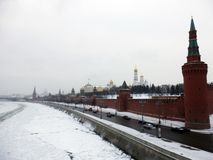 Het Kremlin van Moskou in de winter royalty-vrije stock fotografie