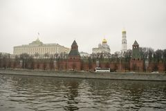 Het Kremlin is versterkte complex in het centrum van Moskou Royalty-vrije Stock Foto