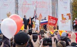 Het krijgen van de Olympische vlam Royalty-vrije Stock Fotografie