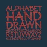 Het krijt schetste gestreepte alfabet abc vectordoopvont Royalty-vrije Stock Fotografie
