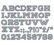 Het krijt schetste gestreepte alfabet abc vectordoopvont Royalty-vrije Stock Foto