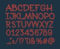 Het krijt schetste gestreepte alfabet abc vectordoopvont Royalty-vrije Stock Afbeelding