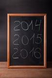 Het krijt van 2016 van inschrijvings 2014 2015 op een bord Stock Afbeeldingen