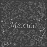 Het krijt vectorillustratie van Mexico Stock Afbeeldingen