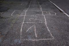 Het Krijtnummer van de hop Schotse Raad Één Fade Out Detail Children Game royalty-vrije stock afbeelding