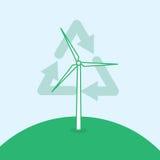 Het Kringloopsymbool van de windturbine Stock Afbeeldingen