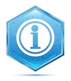 Het kristal blauwe hexagon knoop van het informatiepictogram stock illustratie