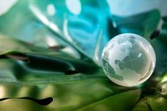 Het kristalglas van de wereldbol op groen blad royalty-vrije stock afbeeldingen