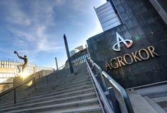 Het Kroatische voedsel en de kleinhandel betreffen Agrokor royalty-vrije stock afbeeldingen