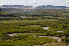 Het kronkelen rivier overgangprairie in Binnenmongolië stock foto
