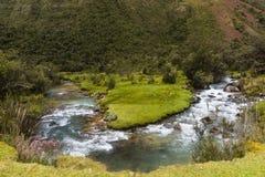 Het kronkelen stroom in het Nationale Park van Huascaran stock afbeeldingen