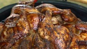 Het kruidige gevogelte en de borstel passen kruid op vlees toe Kip in grill wordt gebakken die Langzame Motie stock footage