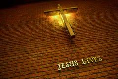 Het kruis en schreef Jesus Lives royalty-vrije stock foto