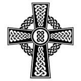 Het Kruis in Keltische stijl met eeuwigheid knoopt patronen in wit en zwart met slagelementen en omringende rond gemaakte knoopel stock illustratie
