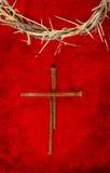 Het Kruis van de Aar van de spijker met Kroon van Doornen Stock Afbeelding