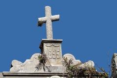 Het kruis van de grafsteen Stock Foto's