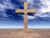 Het kruis van de steen op de gebarsten grond Royalty-vrije Stock Fotografie