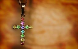 Het kruis van Grungehalfedelstenen Stock Foto's