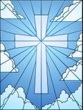 Het kruis van het gebrandschilderd glas in hemel Stock Fotografie