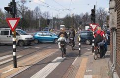 Het kruispunt van Amsterdam, Netherlan Stock Foto