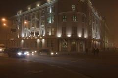 Het kruispunt van de nacht Royalty-vrije Stock Foto