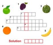 Het kruiswoordraadsel van het fruit Stock Afbeelding