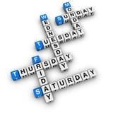 Het kruiswoordraadsel van weekdagen Stock Afbeelding