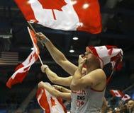 Het krullen Canada Ventilatorsvlag het Golven Royalty-vrije Stock Fotografie