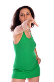 Het krullend-geleide meisje toont richting Royalty-vrije Stock Foto