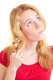 Het krullende haar van de vrouw Stock Foto