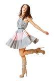 Het krullende haarvrouw dansen royalty-vrije stock fotografie