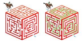 Het kubieke labyrint van het paardrijden Stock Foto