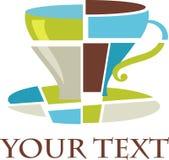 Het kubiste embleem/het pictogram van de koffiekop Stock Afbeeldingen