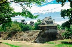Het Kumamotokasteel wordt gevestigd in Kumamoto-Prefectuur, Japan Op dit ogenblik, was dit kasteel in schade van de aardbevingsra royalty-vrije stock afbeeldingen