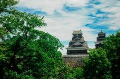Het Kumamotokasteel wordt gevestigd in Kumamoto-Prefectuur, Japan Op dit ogenblik, was dit kasteel in schade van de aardbevingsra royalty-vrije stock foto