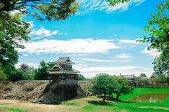 Het Kumamotokasteel wordt gevestigd in Kumamoto-Prefectuur, Japan Op dit ogenblik, was dit kasteel in schade van de aardbevingsra royalty-vrije stock fotografie