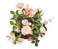 Het kunstmatige boeket van rozenbloemen isoleerde wit gebruik als achtergrond F Royalty-vrije Stock Afbeelding