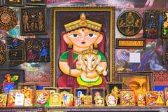 Het kunstwerk, Indische ambachtenmarkt in Kolkata Stock Afbeelding