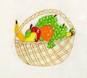 Het kunstwerk van het kind - fruitstilleven Stock Afbeeldingen