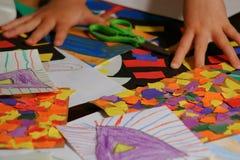 Het kunstwerk van kinderen stock afbeeldingen