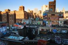 Het kunstwerk van Manhattan van de Stad van New York op de muur Royalty-vrije Stock Afbeeldingen